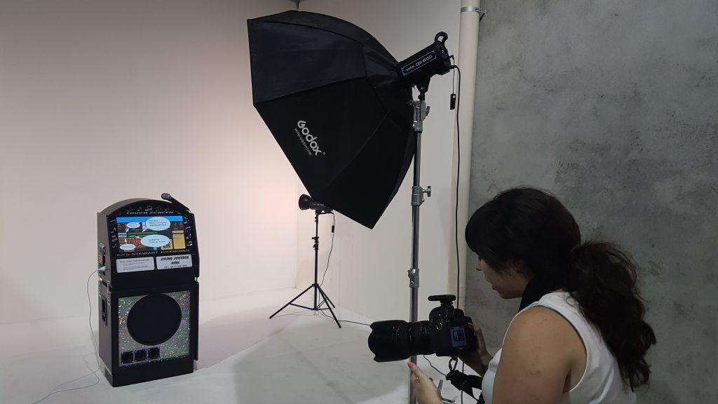 camera set up on digital jukebox